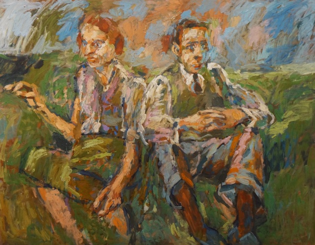"""The Couple"" Signed, Original Oil on Board -  Size: 28"" x 36"" - £950"