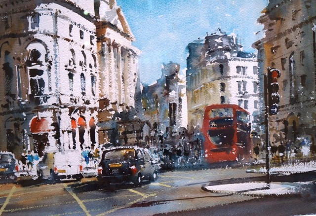 "Gerald Green - ""Piccadilly Morning, London"" - £1,050. For full details please click here: http://www.fletchergateartgallery.com/art.php?art=249"