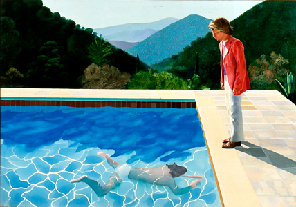 "Portrait of an Artist (Pool with two figures), 1972 acrylic on canvas, 84"" x 120"""